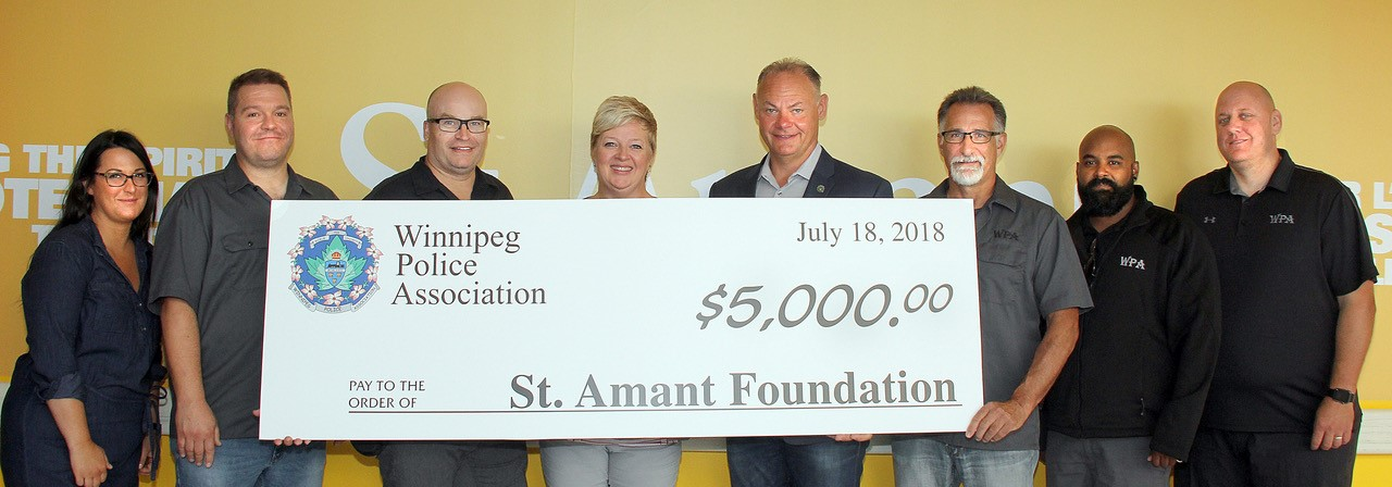 WINNIPEG POLICE ASSOCIATION DONATES $5,000 TO ST. AMANT FOUNDATION